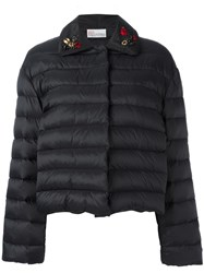 Red Valentino Embroidered Ladybird Puffer Kacket Black