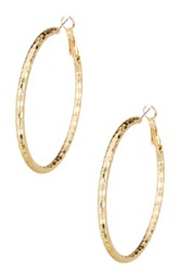 14Th And Union 50Mm Thick Textured Hoop Earrings Metallic