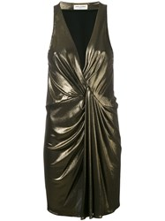 Saint Laurent Metallic Grey Dress Women Silk Viscose 42