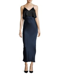 Diane Von Furstenberg Hammered Silk Popover Slip Dress Blue Black