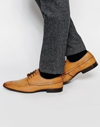 Asos Derby Shoes In Rich Tan Leather With Burnishing Tan