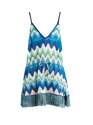 Missoni Mare Plunging V Neck Zigzag Knit Cover Up Blue Multi