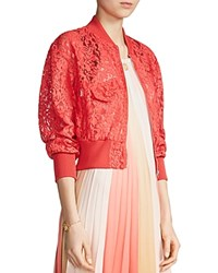 Maje Belem Lace Bomber Jacket Red