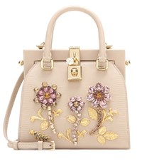Dolce And Gabbana Retro Embellished Leather Crossbody Bag Pink