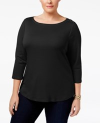 Charter Club Plus Size Cotton Boat Neck Top Only At Macy's Deep Black