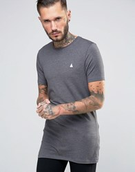 Asos Longline Muscle T Shirt With Logo In Charcoal Marl Charcoal Marl Black