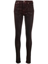 Rick Owens Drkshdw Shine Effect Skinny Jeans Red