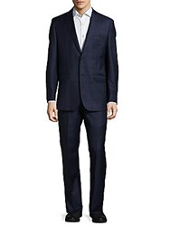 Saks Fifth Avenue Made In Italy Plaid Wool Suit Blue