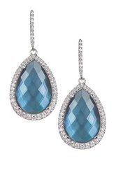 Nadri London Blue Topaz Teardrop Earrings Metallic