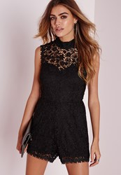 Missguided Scallop Lace High Neck Playsuit Black Black