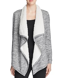 Vero Moda Ilsa Space Dye Faux Fur Cardigan Medium Grey Melange
