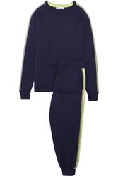 Olivia Von Halle New York Striped Silk And Cashmere Blend Sweatshirt And Track Pants Set Navy