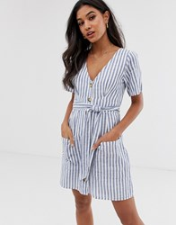 Abercrombie And Fitch Button Down Dress In Stripe Blue
