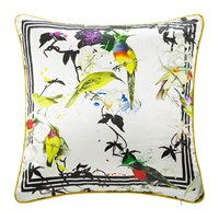 Roberto Cavalli Bird Ramage Silk Bed Cushion White Multi