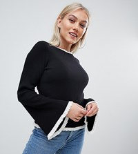 Missguided Petite Ribbed Knitted Jumper With Contrast Edge In Black