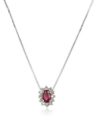Incanto Royale Diamond And Ruby Drop 18K Gold Necklace Silver