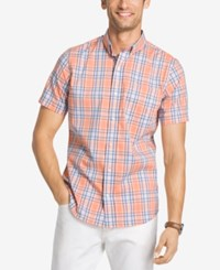 Izod Men's No Iron Plaid Shirt Sour Orange