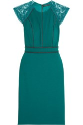 Catherine Deane Vanya Leather Trimmed Lace And Crepe Dress Teal