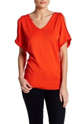 Joseph A V Neck Cold Shoulder Sweater Orange