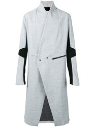 Lost And Found Ria Dunn Minimal Double Breasted Coat Men Cotton Polyamide L Grey