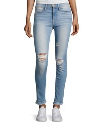 Frame Le High Skinny Double Raw Edge Jeans Blue