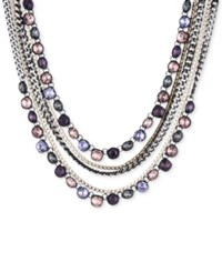 Dkny Tri Tone And Black Rubber Multi Stone Multi Layer Necklace Created For Macy's Purple