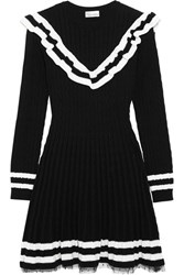 Red Valentino Redvalentino Point D'esprit Trimmed Ruffled Cable Knit Cotton Mini Dress Black