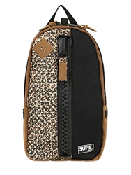 Supe Design Nylon Canvas And Faux Suede Backpack Leopard