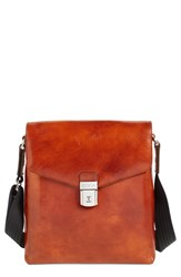Men's Bosca 'Man Bag' Leather Crossbody Bag Brown Amber