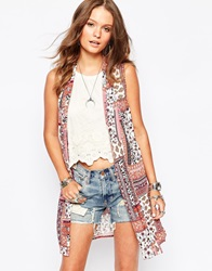New Look Patchwork Print Waistcoat White