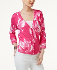 Inc International Concepts Printed Cardigan Only At Macy's Intense Pink