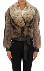 Faith Connexion Women's Fur And Leather Jacket Beige Black Tan Beige Black Tan