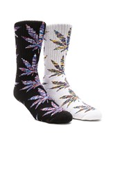 Huf 2 Pack Melange Plantlife Crew Socks Black And White