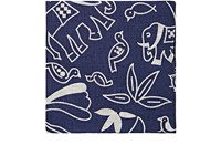 Barneys New York Men's Animal And Floral Print Linen Pocket Square Navy