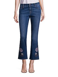Peserico Skinny Kick Flare Jeans Withfloral Embroidery Dark Blue