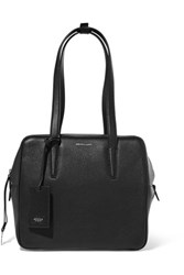 Agnona North South Suede Paneled Textured Leather Tote Black
