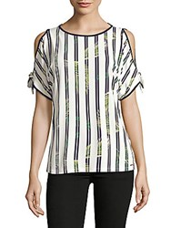 Ivanka Trump Leaf Stripe Cold Shoulder Top Ivory Navy
