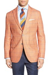 Men's David Donahue Classic Fit Windowpane Linen And Wool Sport Coat