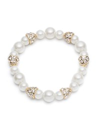 Anne Klein Faux Pearl And Pave Station Stretch Bracelet