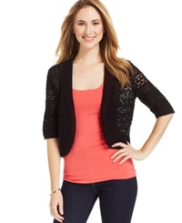 Jm Collection Crochet Cropped Cardigan Deep Black