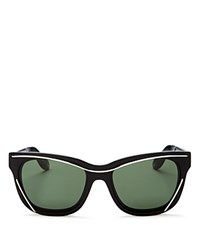 Givenchy Wire Wayfarer Sunglasses 55Mm Black Silver Green Solid