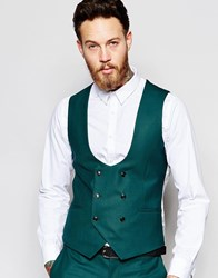 Noose And Monkey Double Breasted Waistcoat With Stretch In Skinny Fit Green