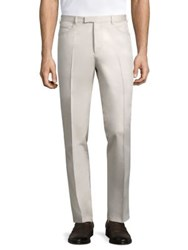 Pal Zileri Skinny Fit Cotton Blend Pants Off White