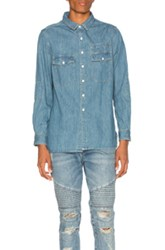 Stampd Washed Denim Work Shirt In Blue