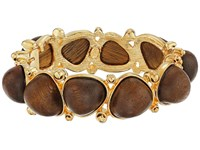 Kenneth Jay Lane Gold With Dark Wood Cabochons Bangle Brown Bracelet