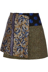 Suno Paneled Jacquard Fil Coupe And Boucle Wrap Mini Skirt Metallic