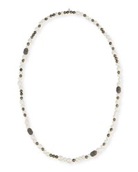 Hipchik Mychelle Pearly Bead And Rhinestone Necklace 43 White Gray