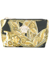Versace Baroque Print Make Up Bag Yellow And Orange