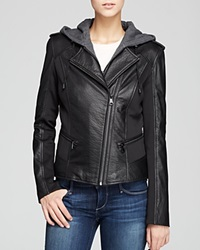 Marc New York Belle Bubble Leather Jacket With Hood Black