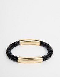 Designsix Woven And Metal Bracelet Black